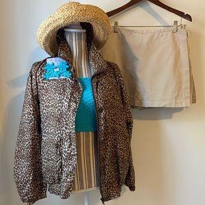 Vintage 100% silk leopard zip up wind breaker